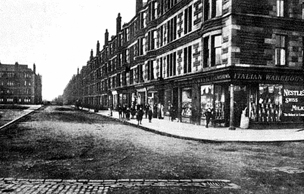 Shops in the Shettleston district of Glasgow, early 20th century