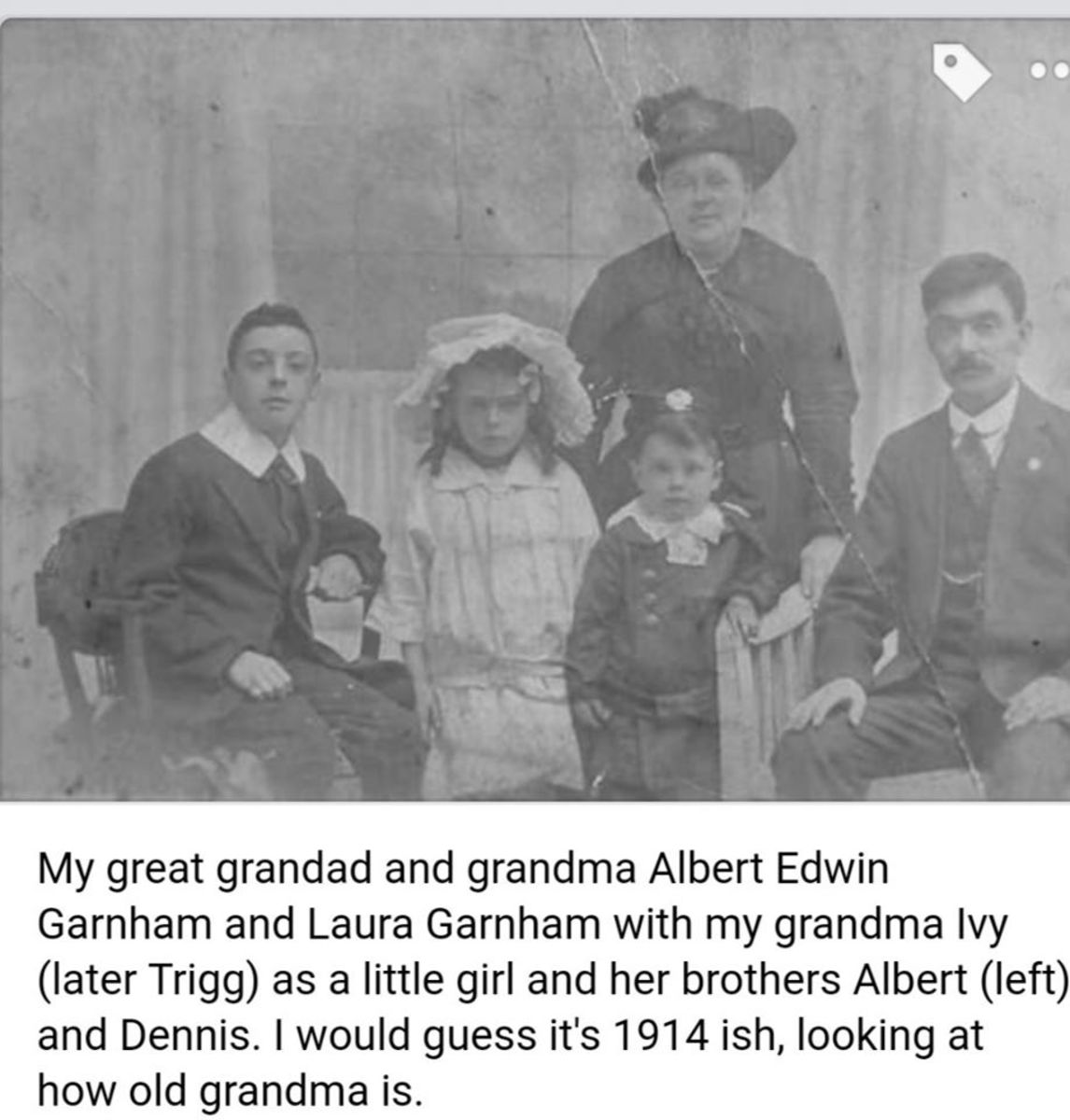 Garnham family photo, showing my grandma as a young girl with her brothers. This was before their sister Madge was born.