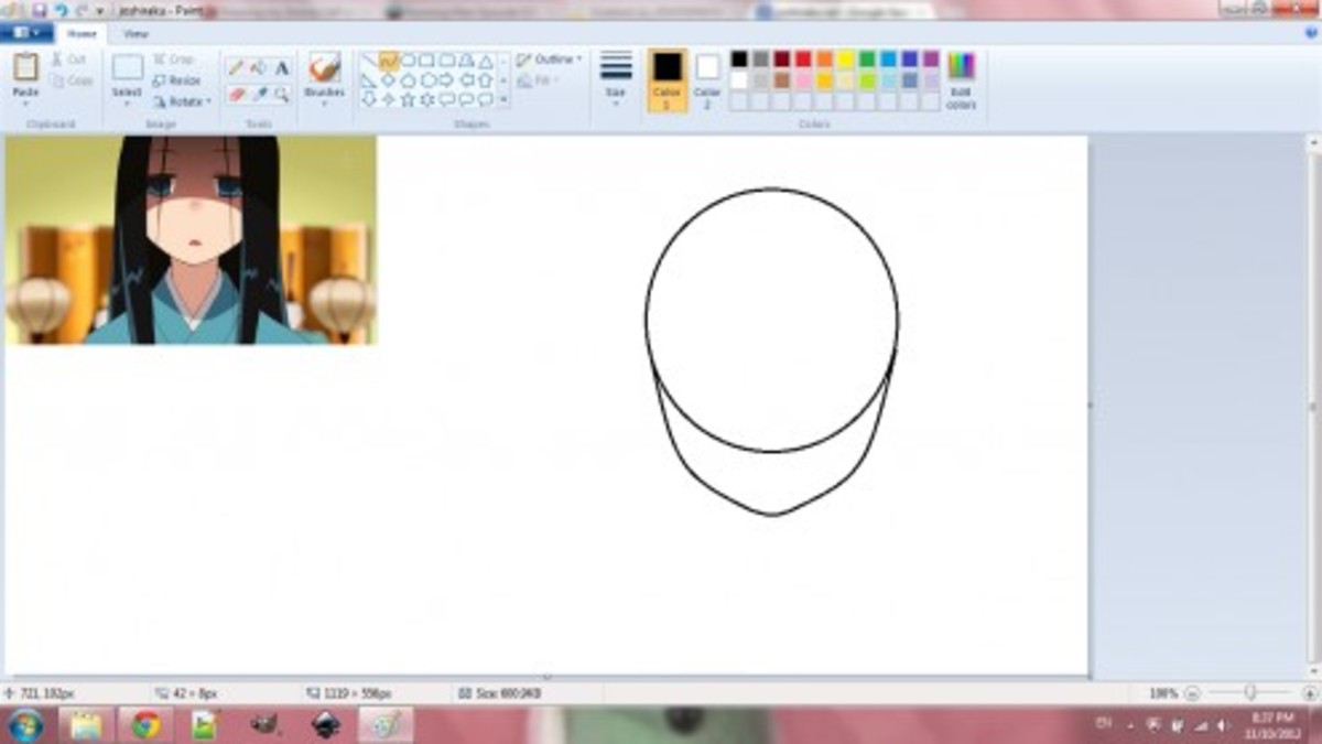 For this drawing, I used a reference image. The head is created using a circle and curved lines.