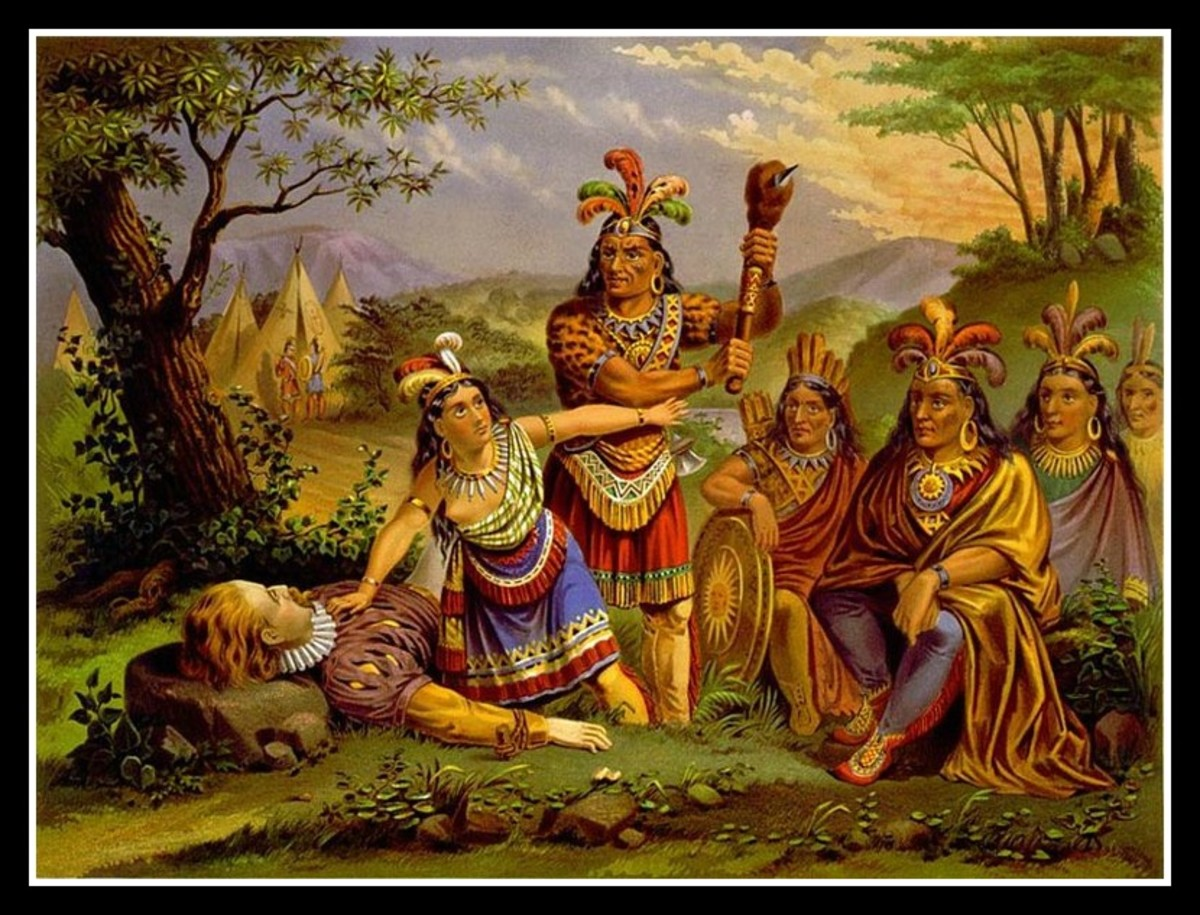 1870's lithograph of Pocahontas' alleged intervention between Smith and her father.