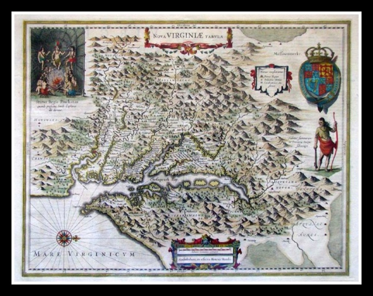 Map of the Viriginia Colony. Created by John Smith in 1612, with color added by Henricus Hondias in 1639