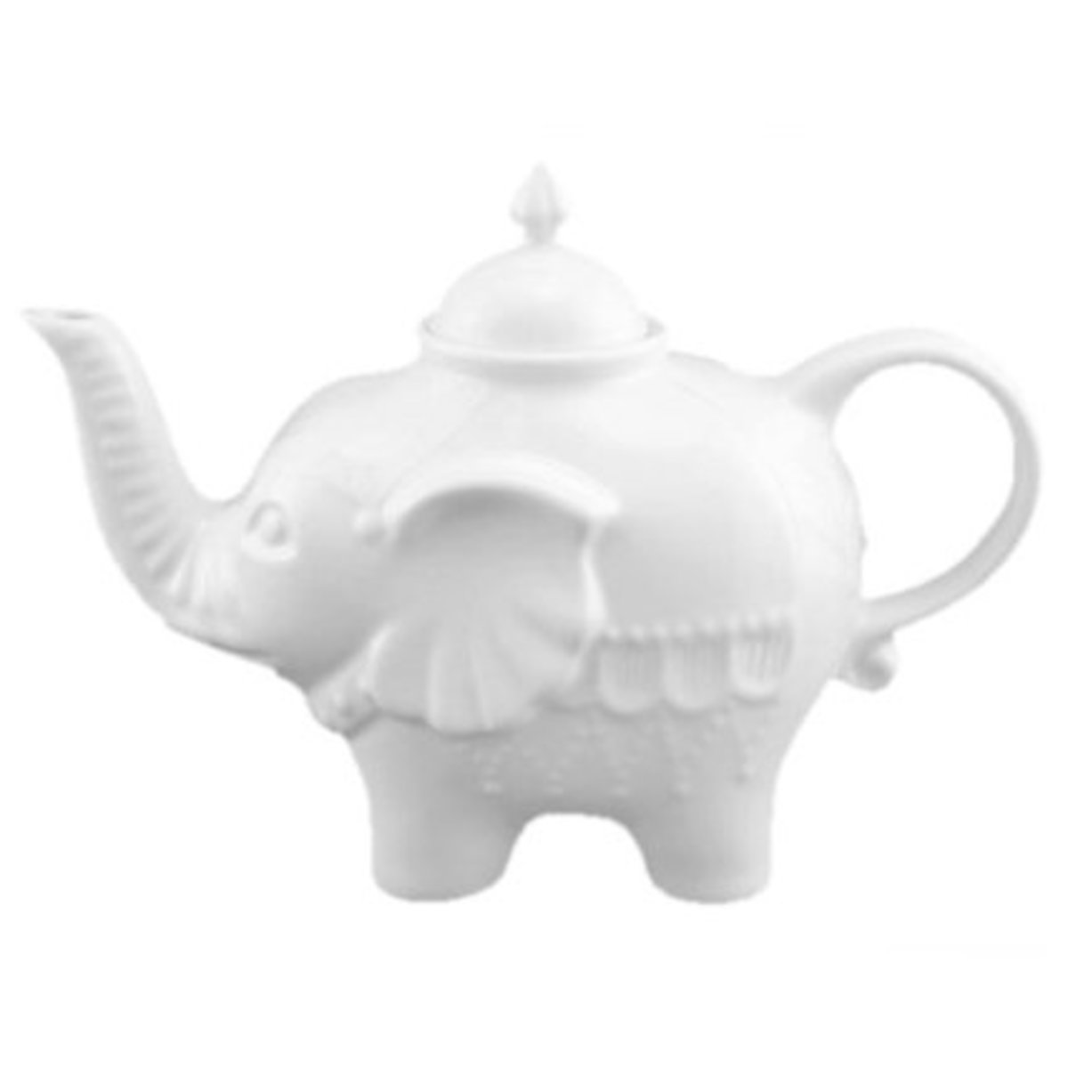 This white elephant teapot is precious.