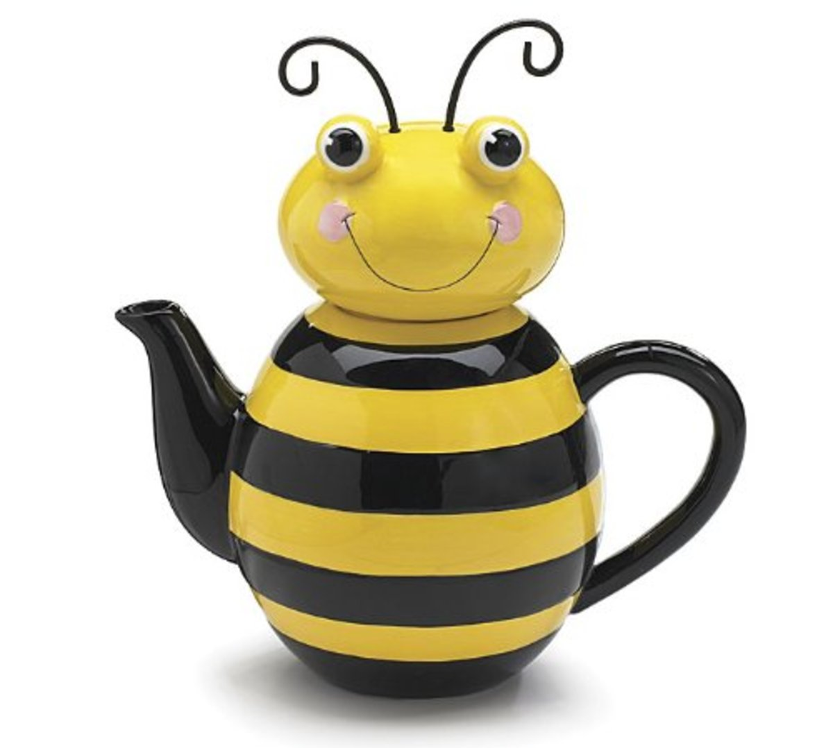 "What can I say about this bumble bee shaped teapot except ""Bee happy."""