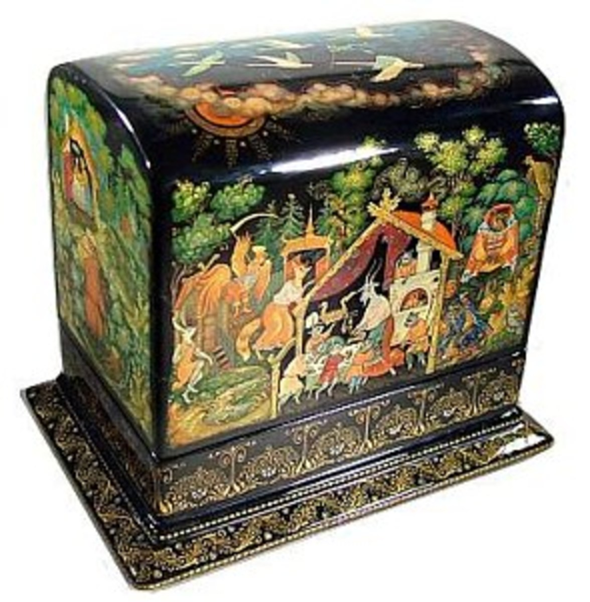 Beautiful Russian lacquered box that depicts a Russian fairy tale.