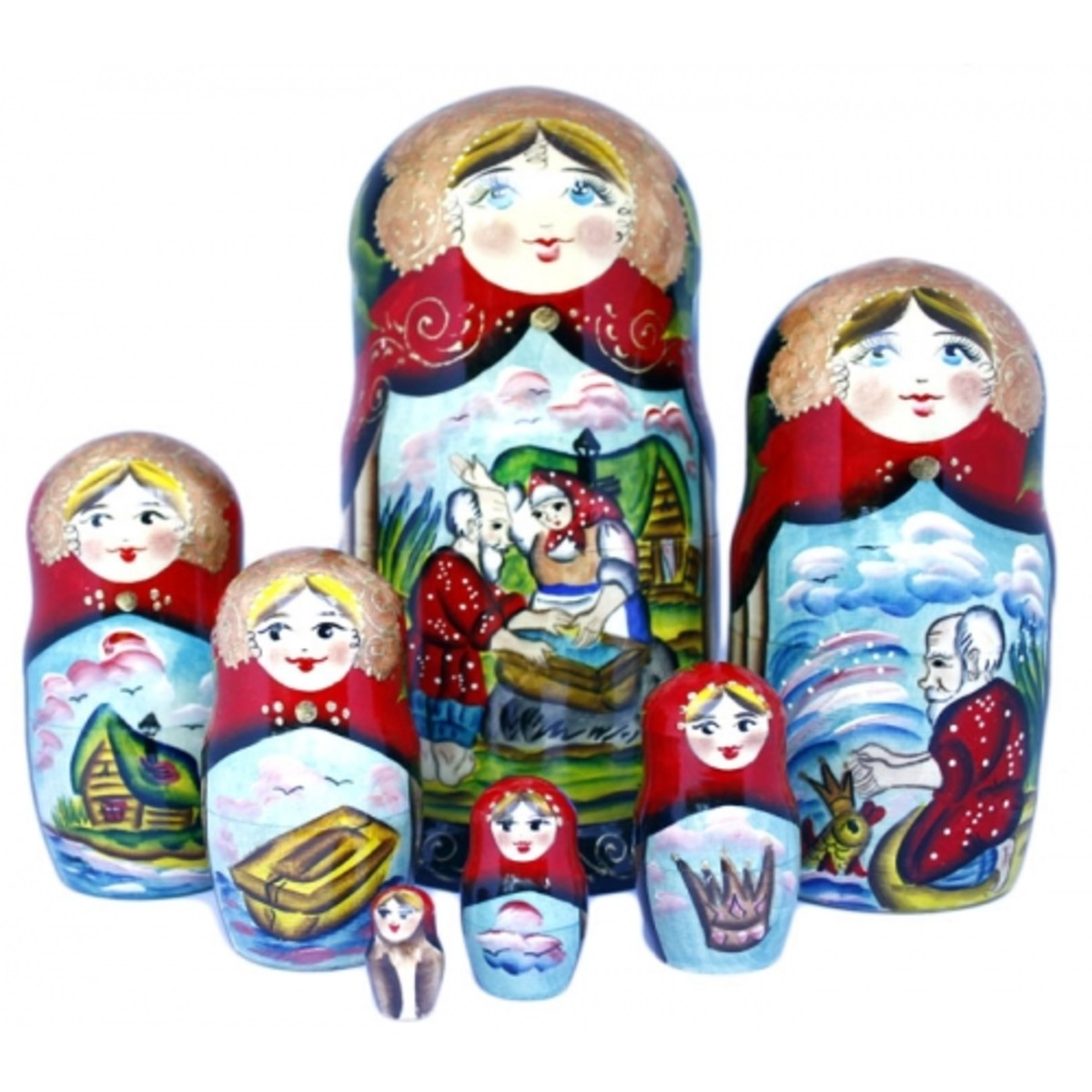"Beruska dolls depicting ""The Fisherman and the Magic Fish"", from Russian Fairy Tales."