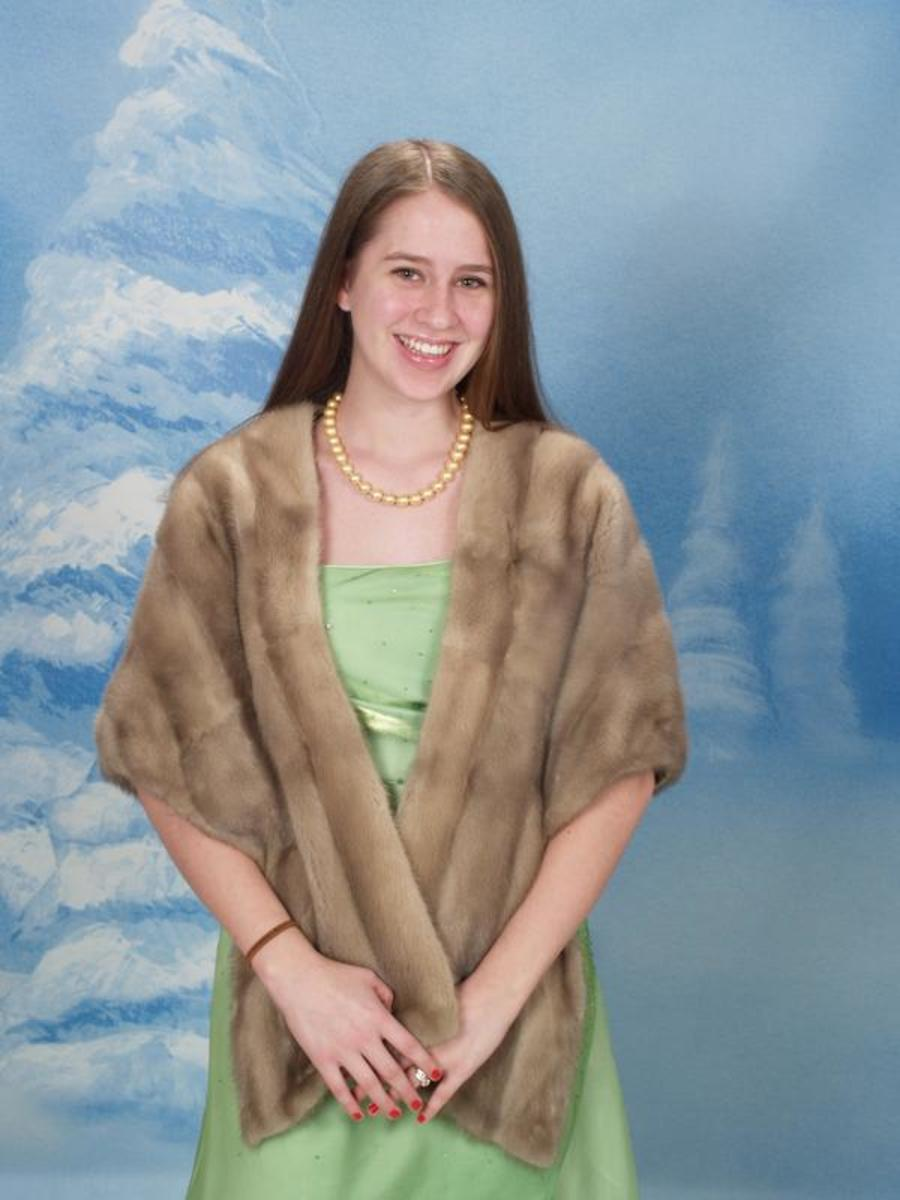 It is always good when your vintage mink matches your hair color, the soft pastel minks and blonde minks do good for light brown and blonde hair.  Mink stoles go well with winter formal dances and formal events.