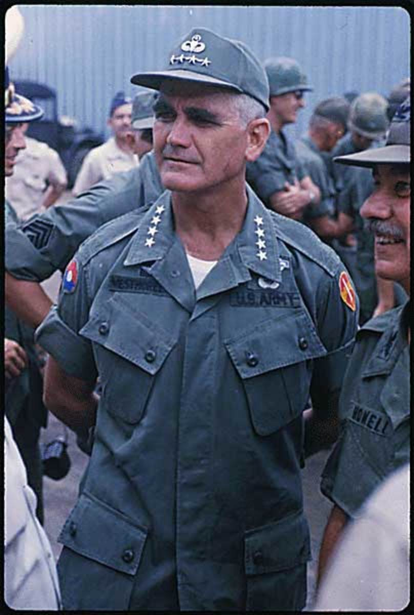 1964- General William C. Westmoreland, Commanding General, MACV, watches the ceremonies on the arrival of the Royal Thai Volunteer Regiment in Vietnam.