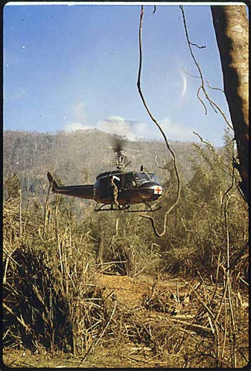 South Vietnam. A UH-1D Medevac helicopter takes off to pick up an injured member of the 101st Airborn Division, near the demilitarized zone. 10/16/1969.