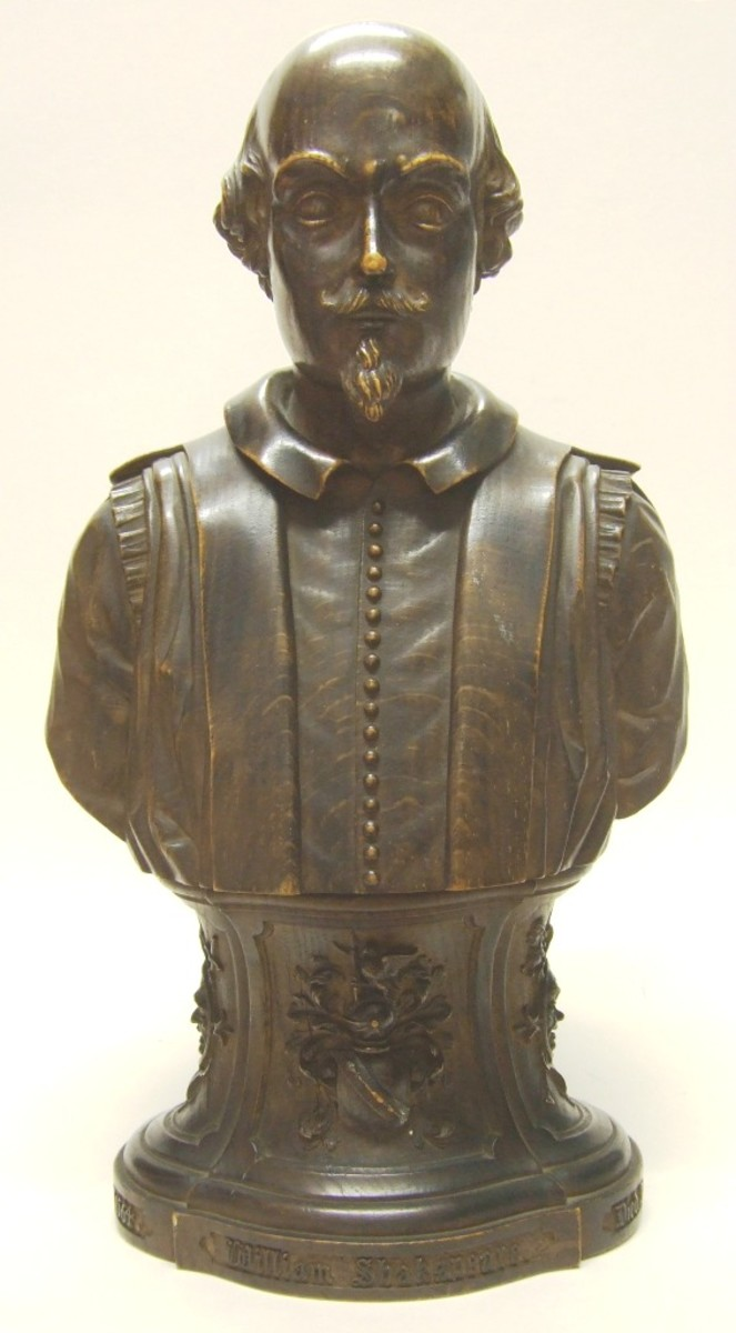 Bust of William Shakespeare, allegedly carved from a piece of Herne's Oak