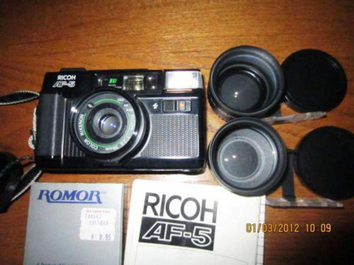 The Ricoh AF-5 is a point and shoot autofocus compact camera for 35mm film with integral flash and autofocus, manufactured by Ricoh circa 1980