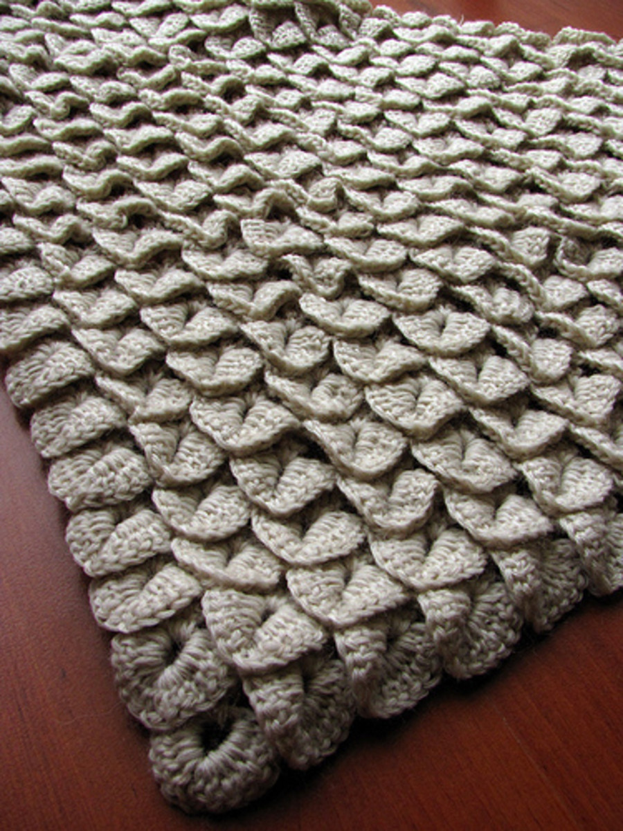 For the love of crocodiles. Here you can see what a larger project layered with crocodile scales looks like. Here they are all crocheted in one solid color.