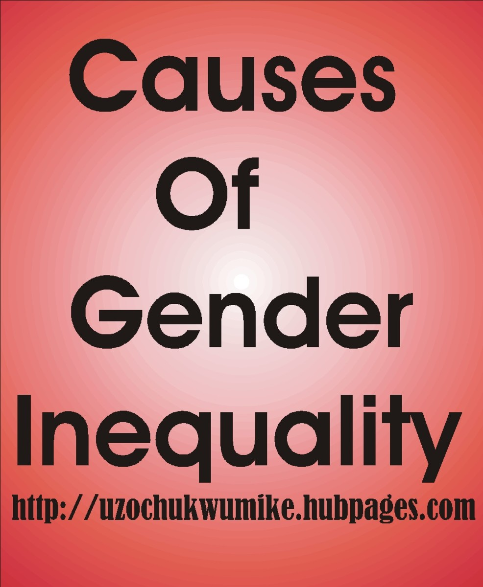 Gender inequality in the world. The causes of global gender inequality.  The illustration explains what the topic is all about.