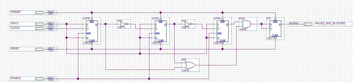 Figure 11: Schematic for 3-bit counter with detect