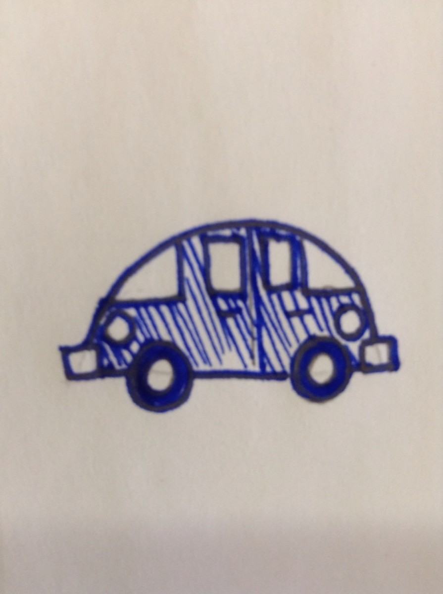 How to draw a car using shapes.
