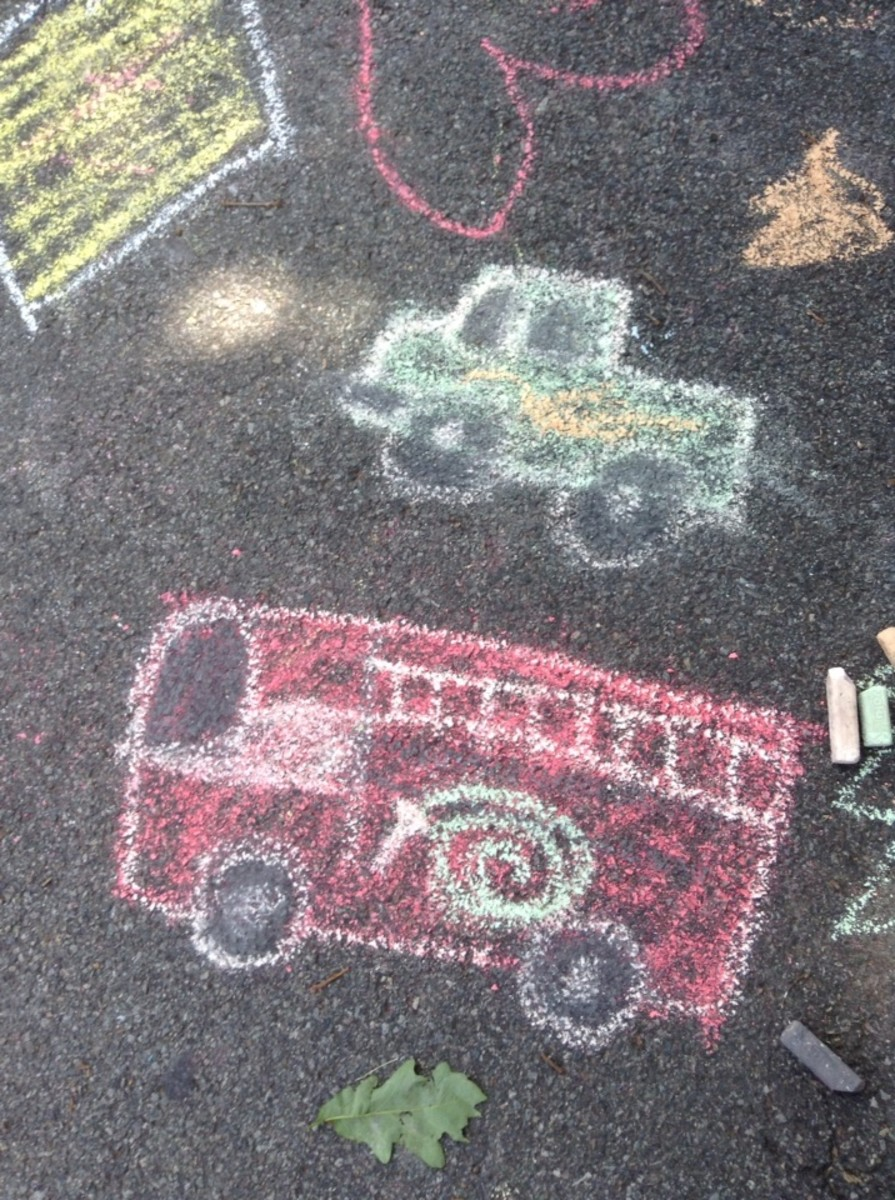 Street chalk fire truck and monster truck.
