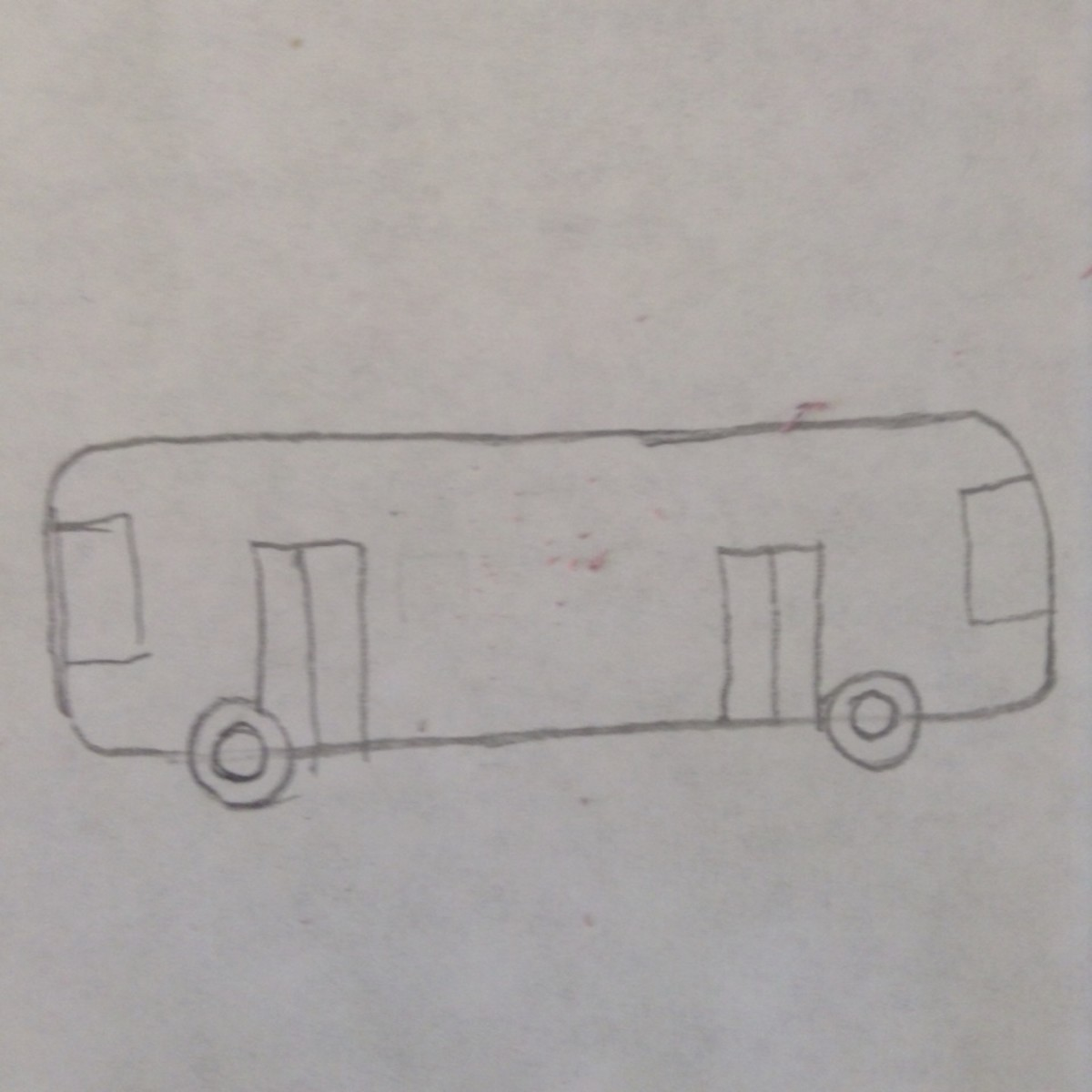 Step 4. Draw rectangles in the front and back of bus for front and back windows.
