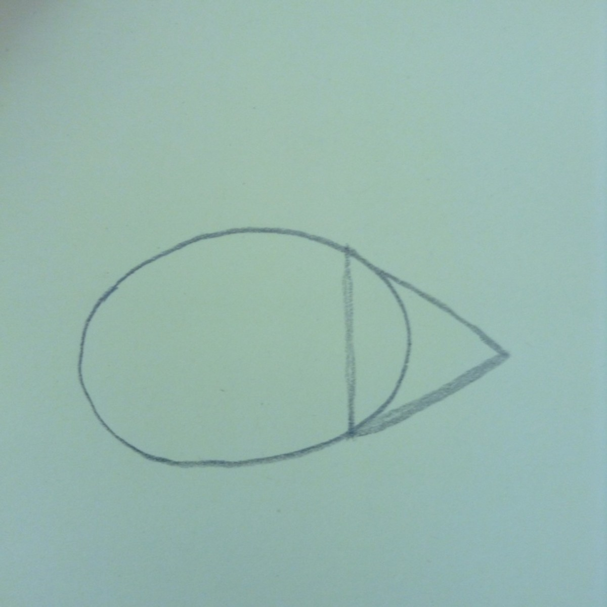 Step 2. Draw a triangle overlapping the oval.