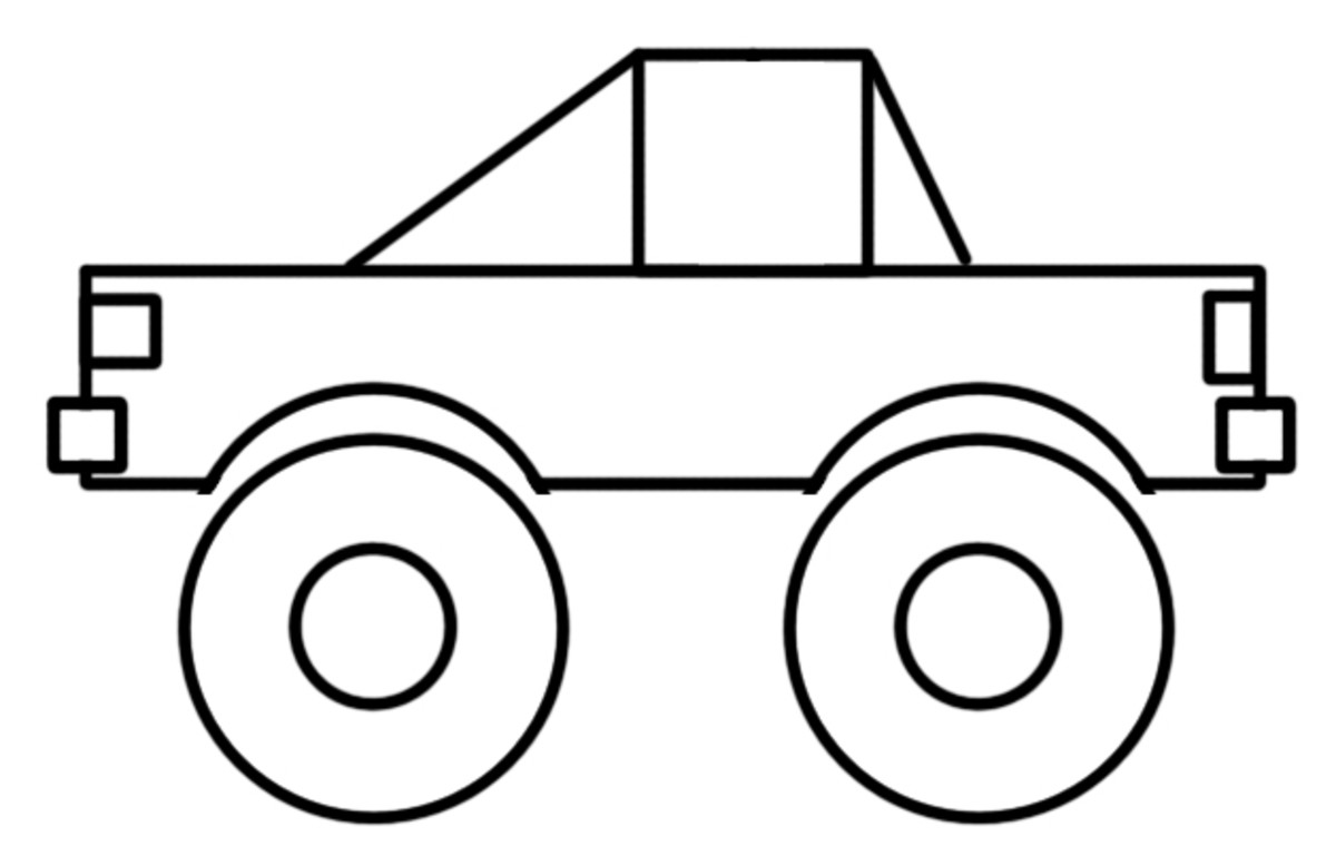How to draw a Monster Truck with just shapes.
