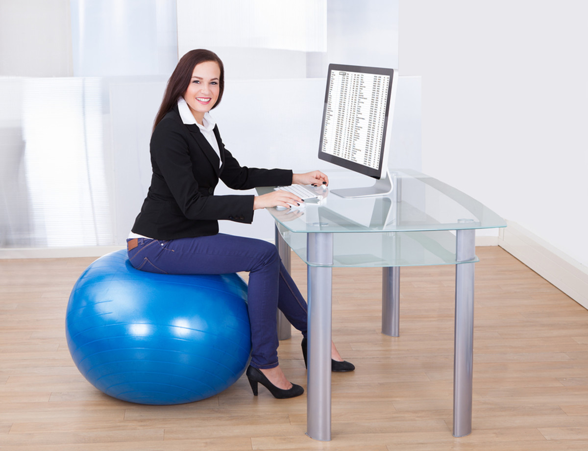 Sitting on an exercise ball for 15-20 minutes can help strengthen core muscles