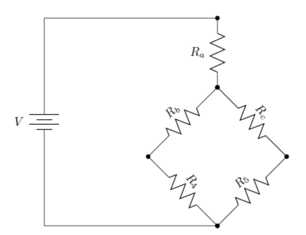 The equivalent circuit of the previous circuit. Now, one only has to calculate what Ra, Rb, and Rc are.