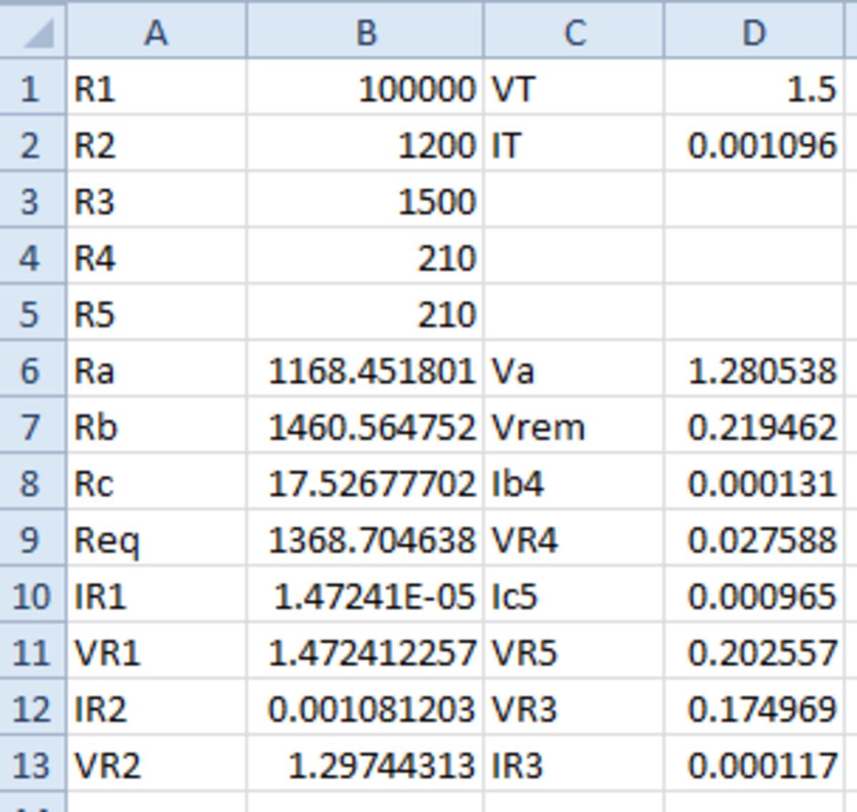 The final spreadsheet.