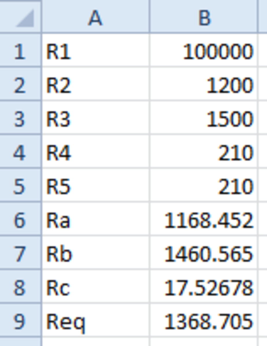 Spreadsheet with Req calculated.