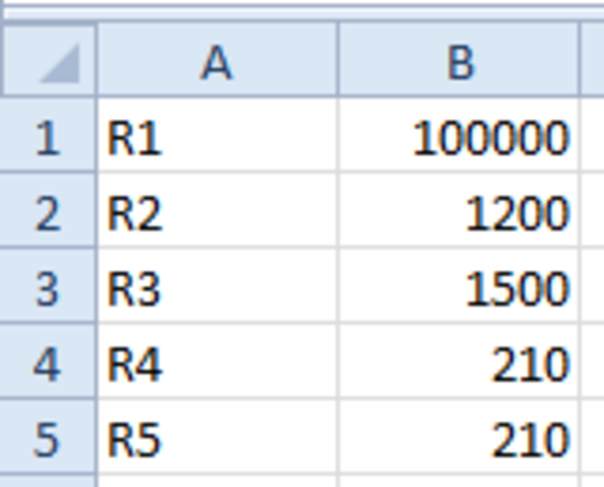 Spreadsheet with initial resistor values entered.