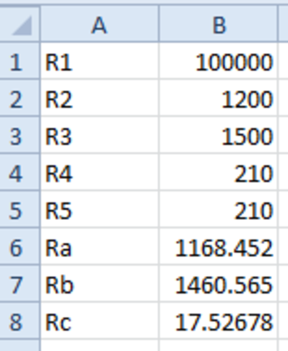 Spreadsheet with calculated values for Ra, Rb, and Rc.
