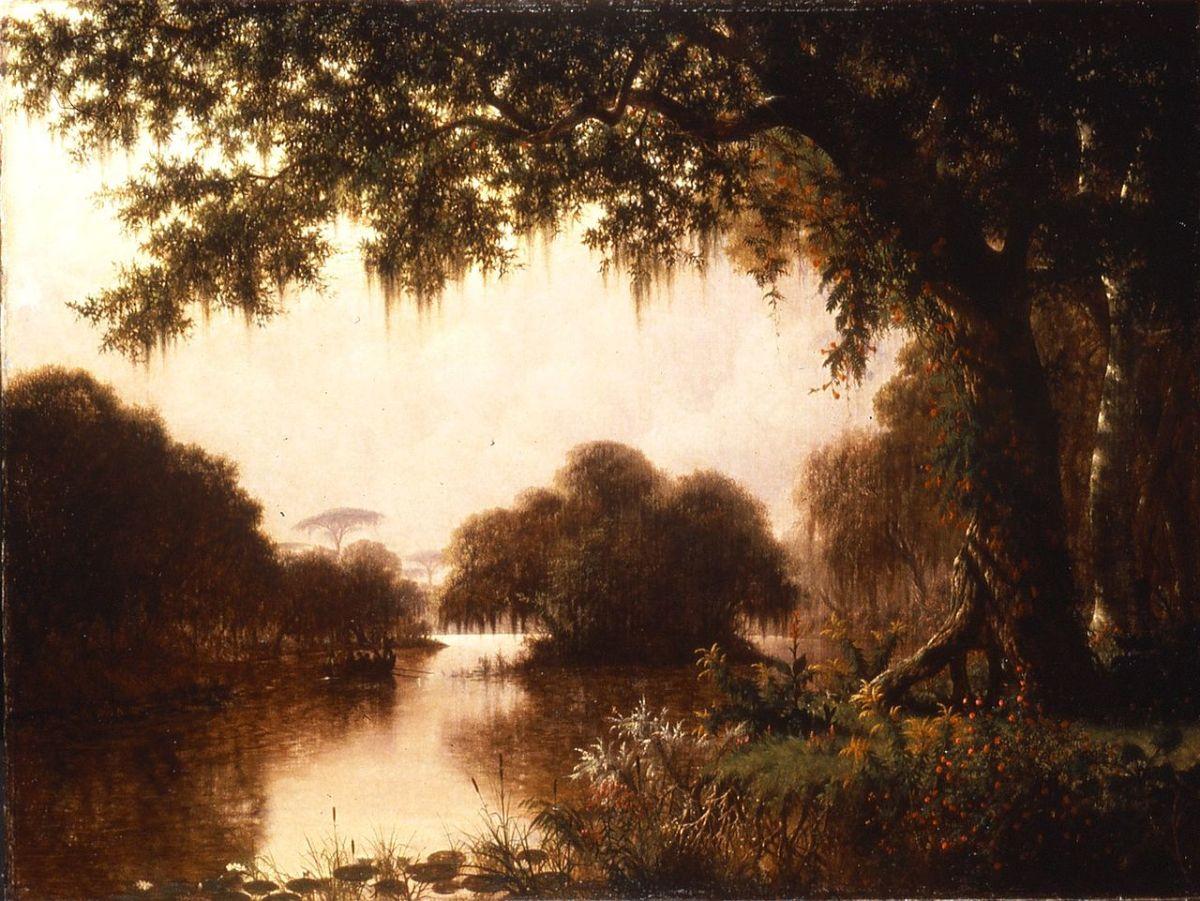 """The Acadians in the Achafalaya, """"Evangeline,"""" 1871, by Joseph Rusling Meeker (American, 1827–1889)."""