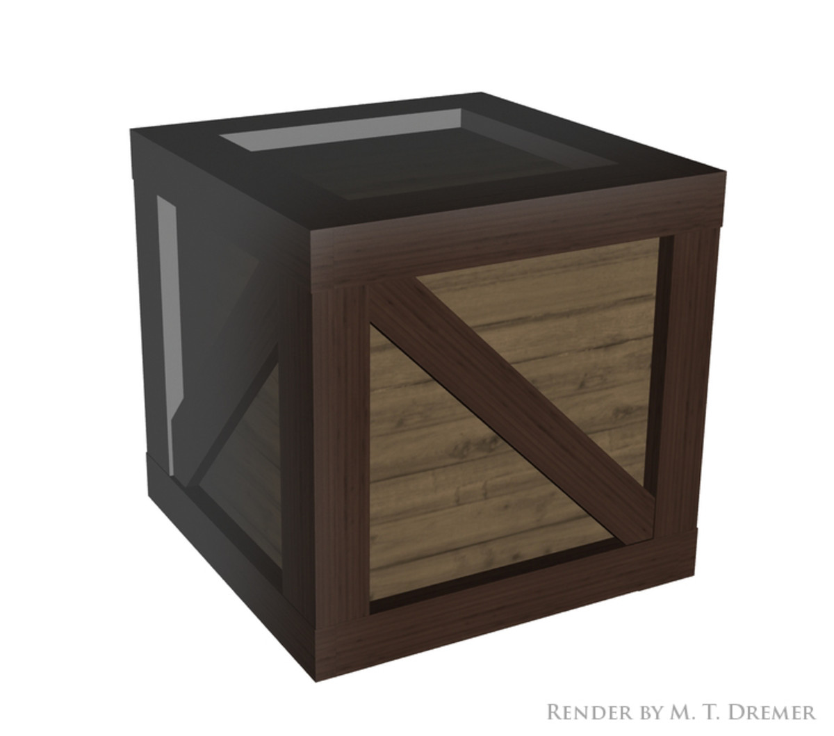 This crate is made entirely out of primitive cubes.