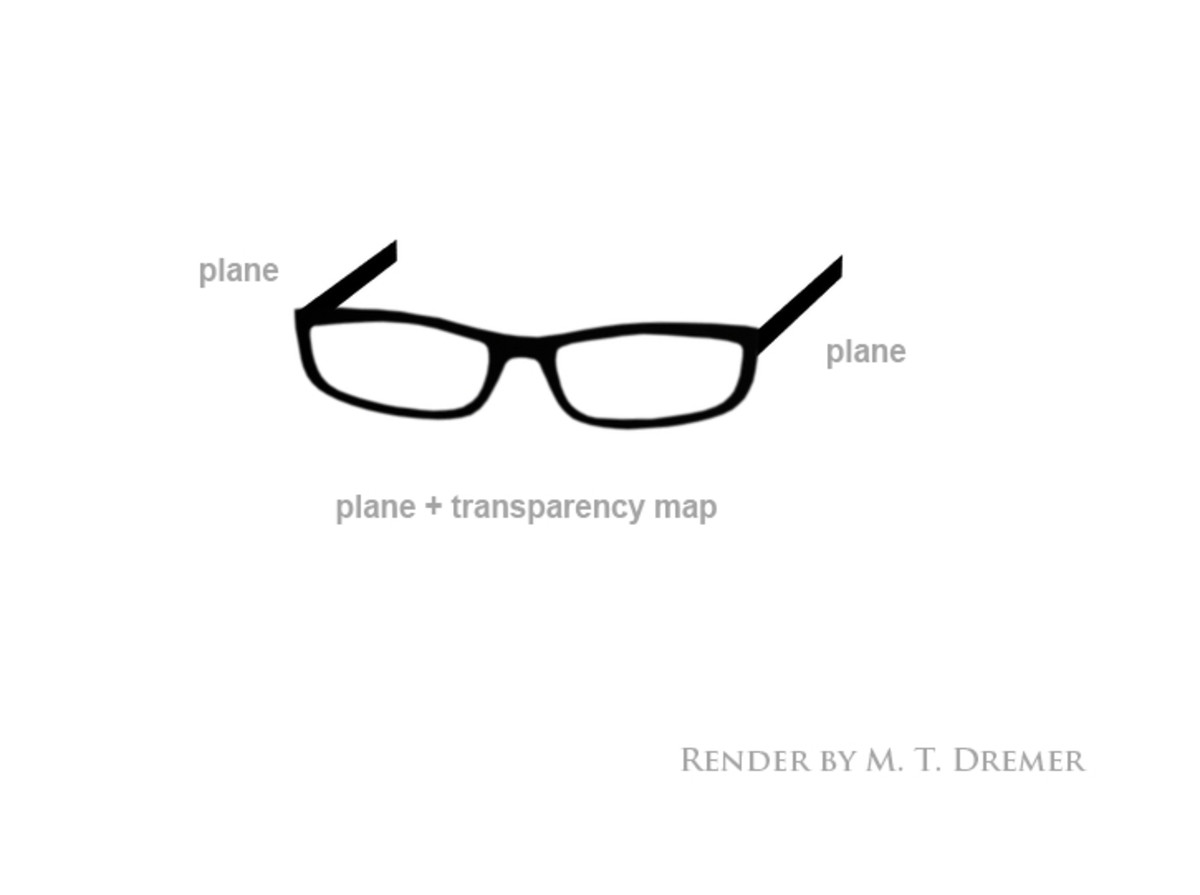 Three primitive planes make a pair of glasses (with the help of a transparency map).