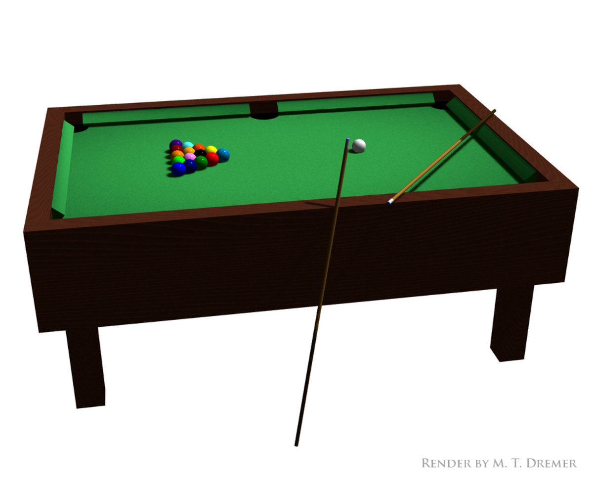 A billiards table made entirely out of primitives.