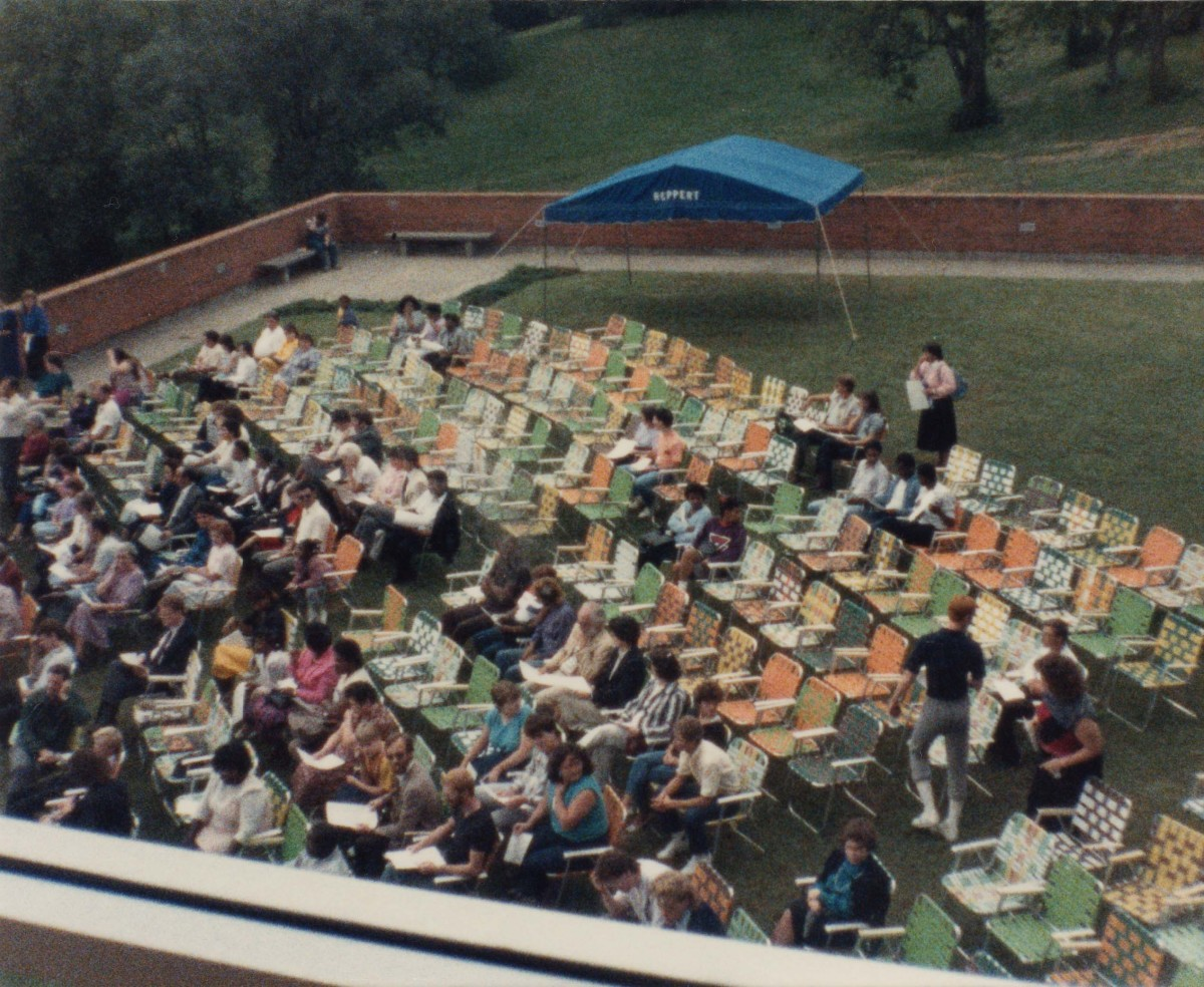 Weather permitting, special student assemblies are often held outdoors.