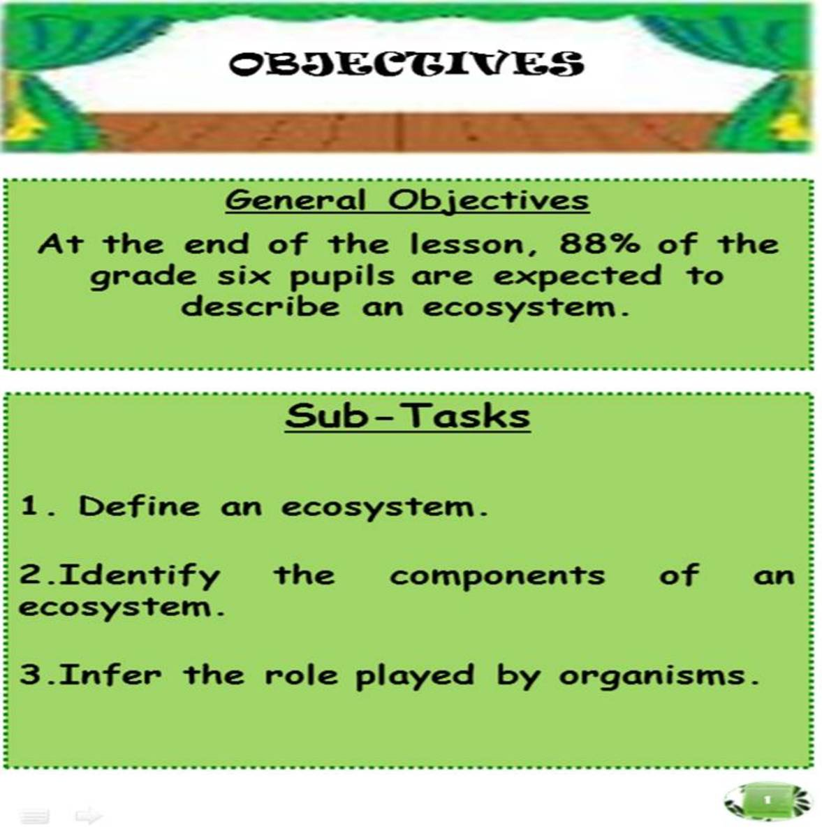 Teaching objectives must be cleared to the students as well.