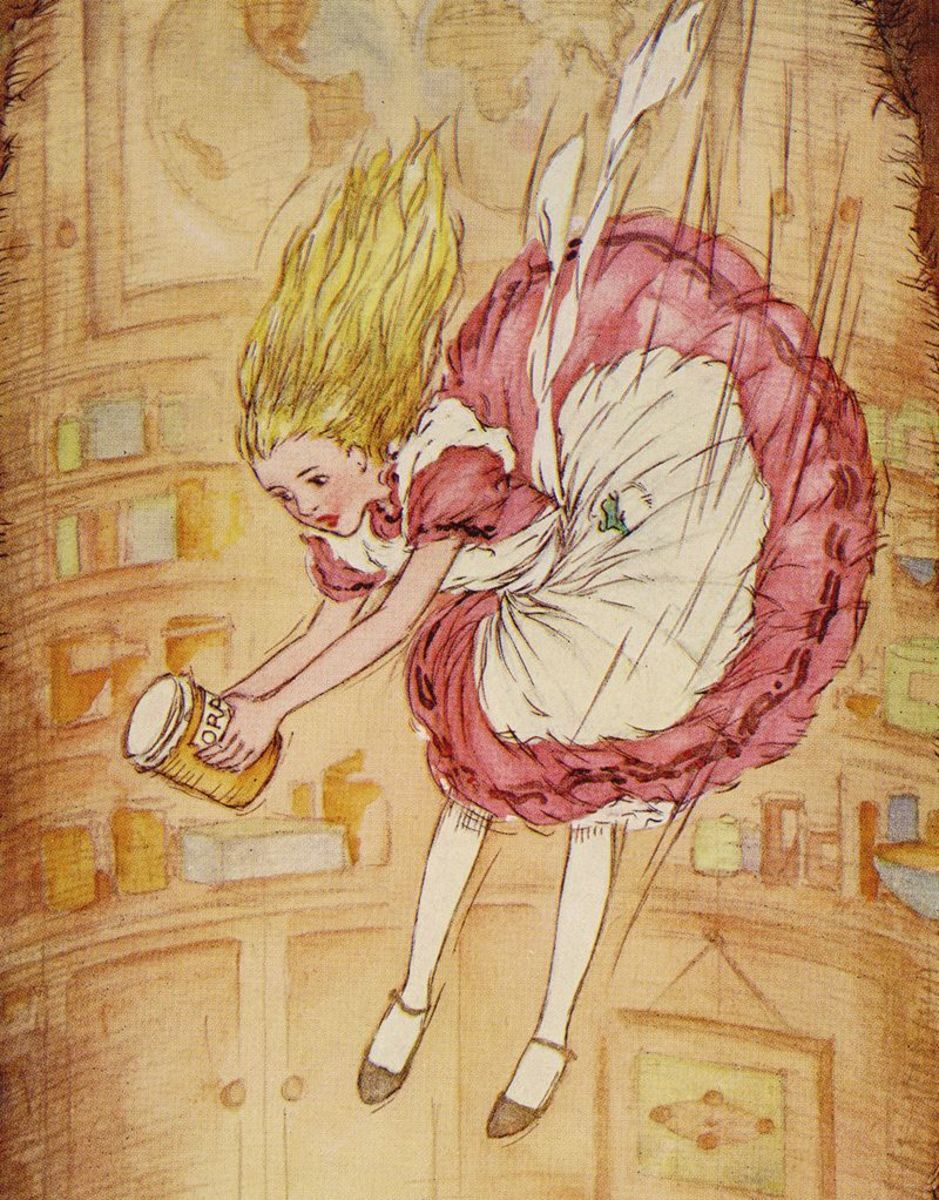 Alice falling through the rabbit hole