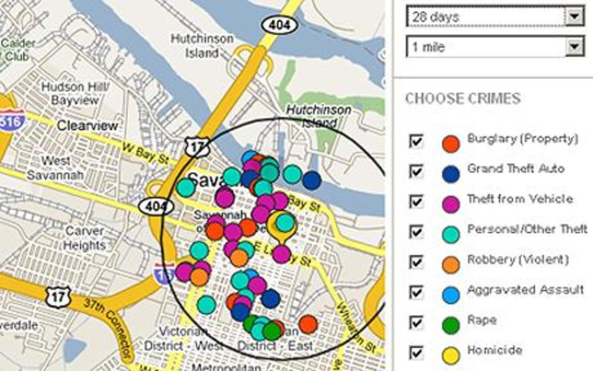 Map showing crimes in Savannah, Georgia
