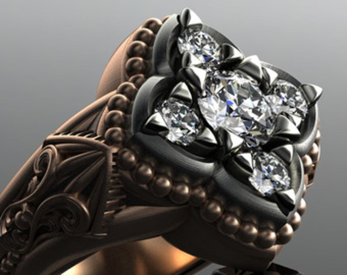 14 ct rose and grey gold Gothic unisex engagement ring.