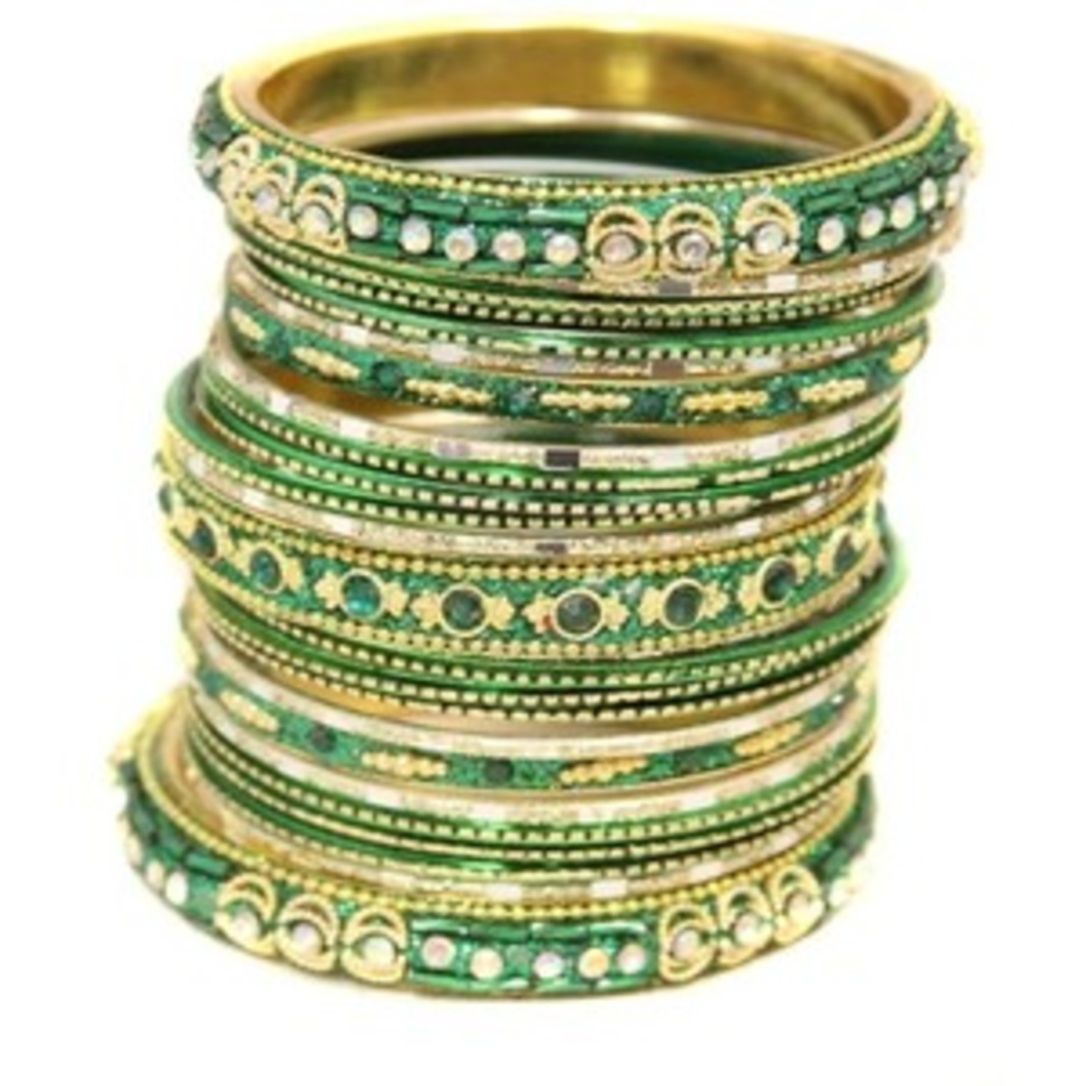 Bangles in green gold