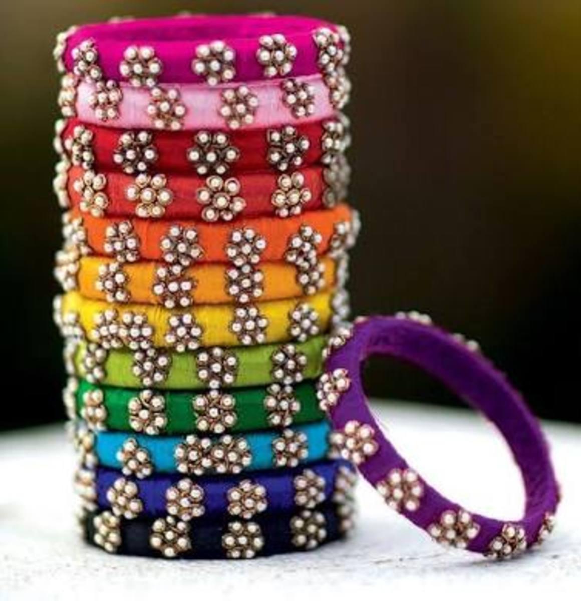 Colourful glass bangles