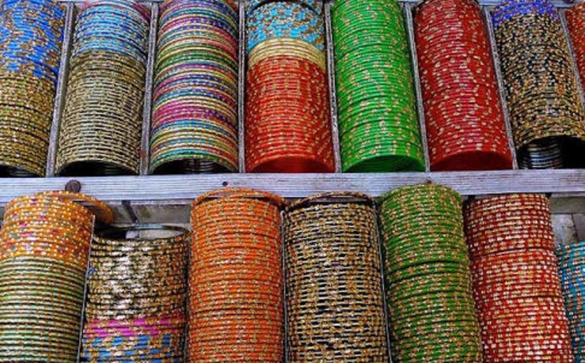 Glass bangles on display at a shop