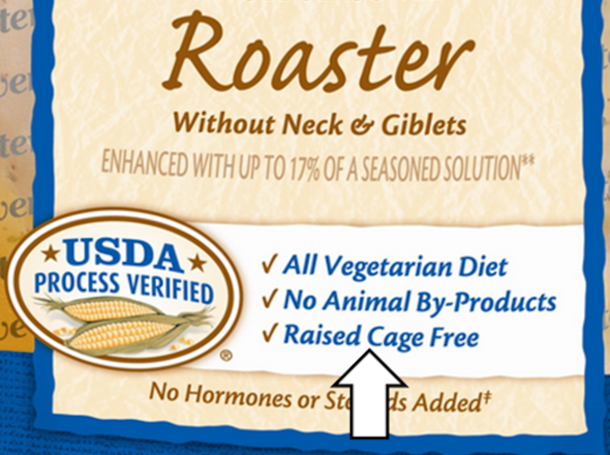 This is a label from Perdue's Roaster asserting vegetarian and cage free.
