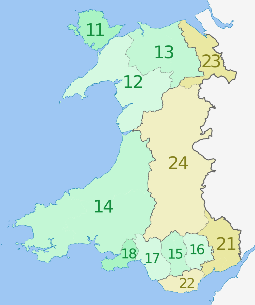 The regions of Wales: Gwynedd is region 12