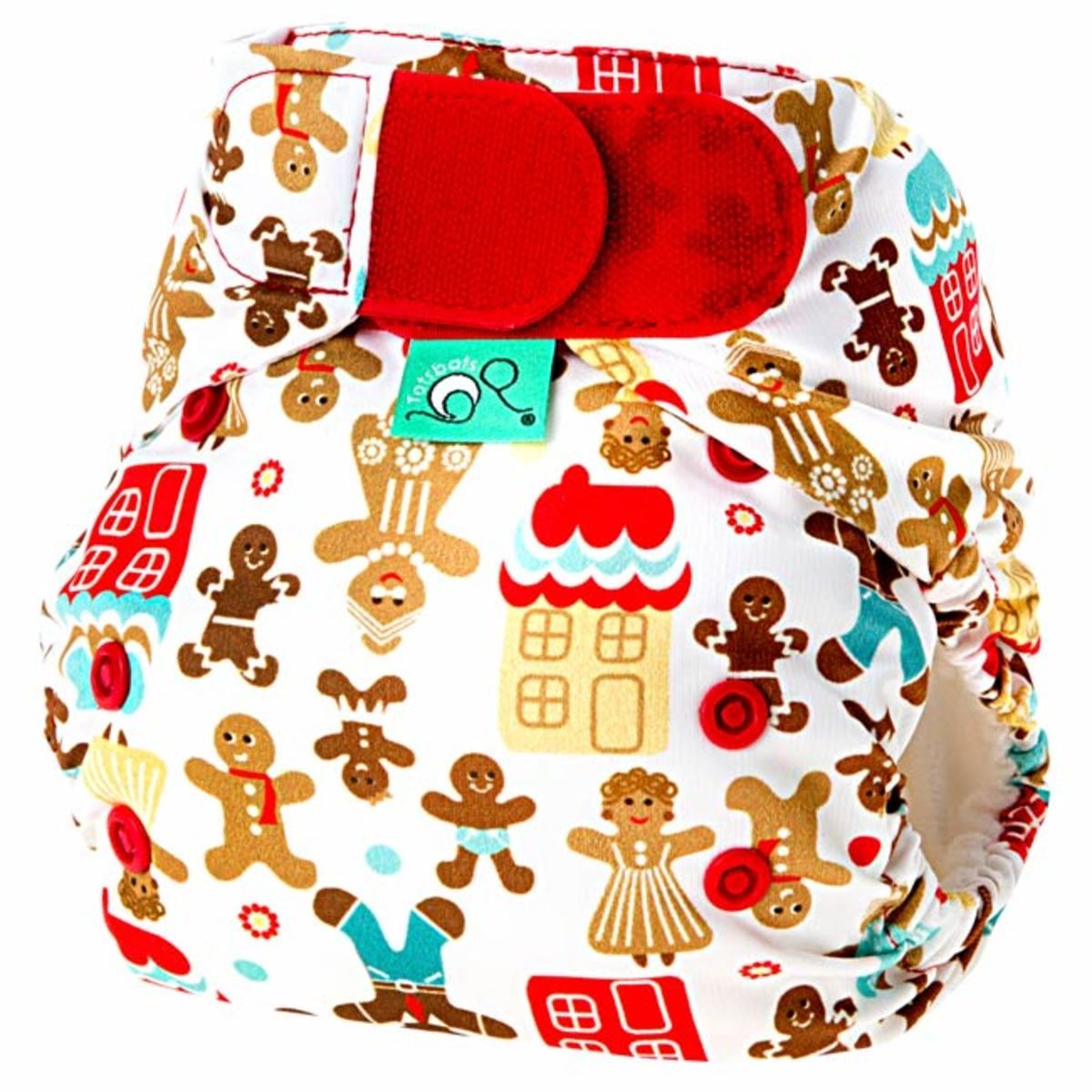 Tots Bots Gingerbread Family Print Diaper