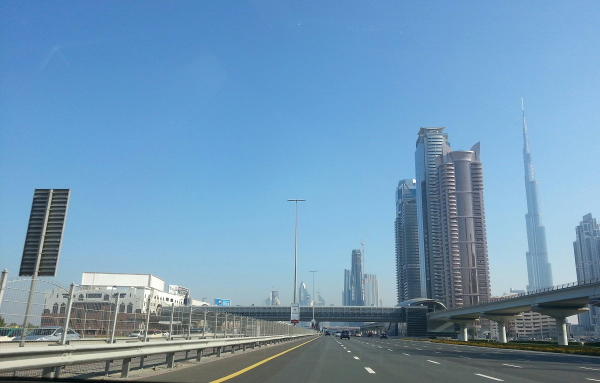 Down Sheik Zayed Road with Burj Khalifa in the background
