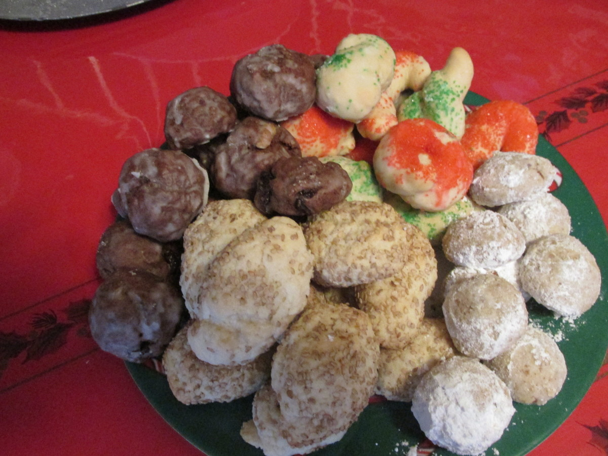 A dish of a variety of my cookies.  The Chocolate Pepper cookies on the left.