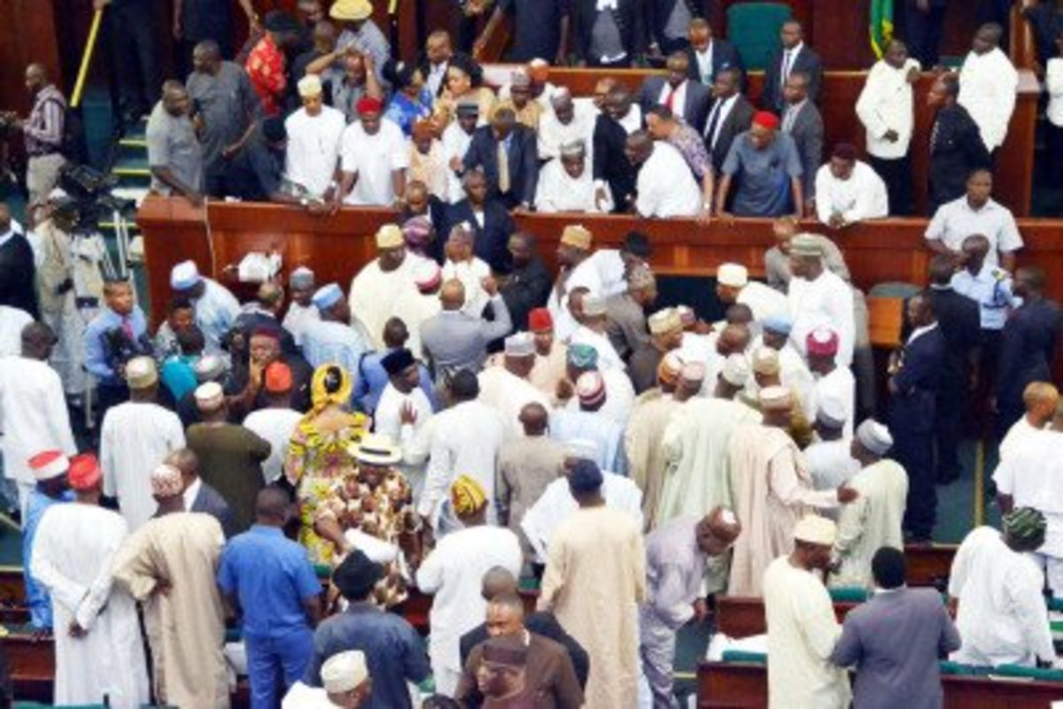Fracas at the House of Representatives over appointment of principal officers in Abuja on Thursday.