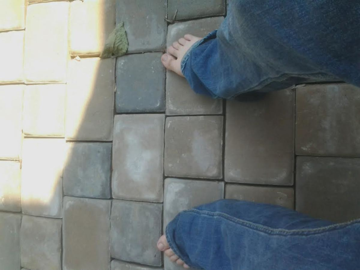Feeling free as I saunter across the smooth, cool surface of my completed patio project.