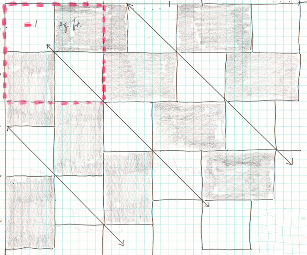 "Practice on graph paper (1 square = 1 inch). White = 6"" x 6"", grey = 6"" x 9"". Arrows denote diagonals of herringbone pattern. Red dashes mark starting point & one square foot."