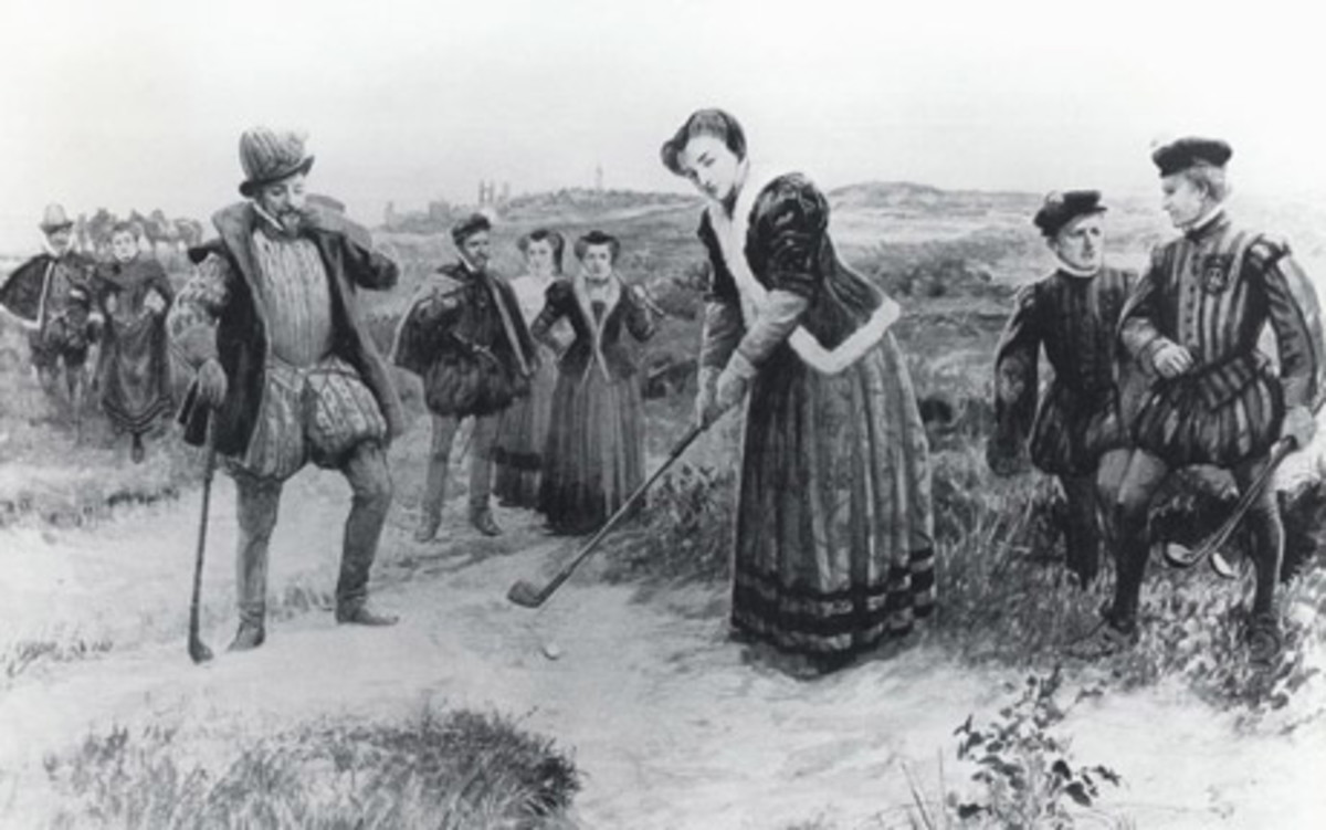 Mary Queen of Scots playing Golf at St. Andrews