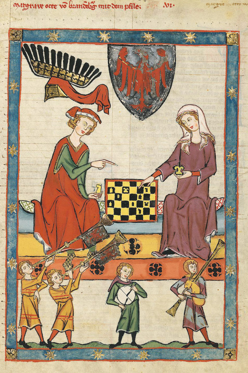 Otto IV of Brandenburg playing chess with a woman, 1305 to 1340